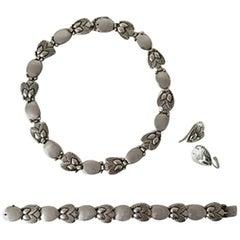 Georg Jensen Sterling Silver Bittersweet Set: Necklace, Bracelet & earrings #94B