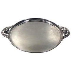 Georg Jensen Sterling Silver Blossom Round Tray with Handles no 2AB