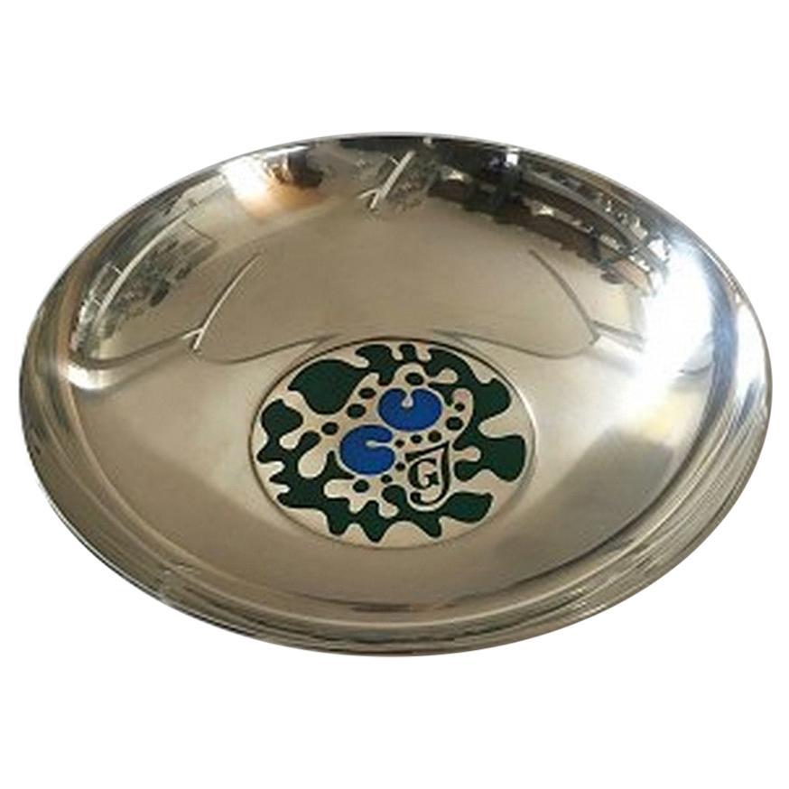 Georg Jensen Sterling Silver Bowl with Enamel, Designed by Henning Koppel
