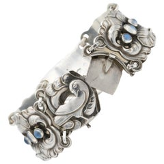 Georg Jensen Sterling Silver Bracelet, Design #32, with Moonstones, Post 1945