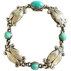Georg Jensen Sterling Silver Bracelet No 11 with Green Agates