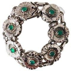 Georg Jensen Sterling Silver Bracelet with Green Stones No 36