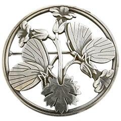 Georg Jensen Sterling Silver Brooch #283 with Butterfly Motif