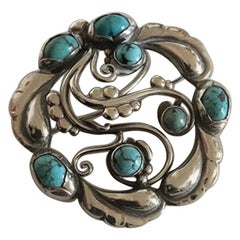 Georg Jensen Sterling Silver Brooch No 159 Ornamented with Turquoise