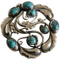 Georg Jensen Sterling Silver Brooch No. 159 Ornamented with Turquoise