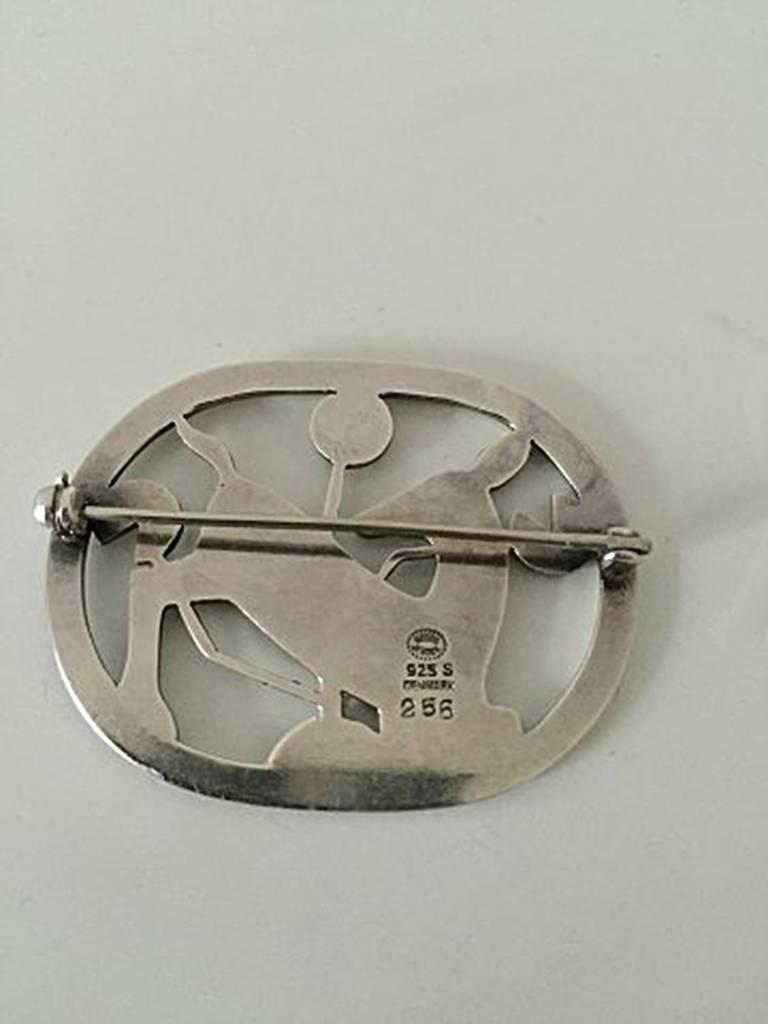 georg jensen sterling silver brooch with deer 256 for. Black Bedroom Furniture Sets. Home Design Ideas