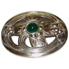 Georg Jensen Sterling Silver Brooch with Green Stone #138