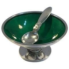 Georg Jensen Sterling Silver Cactus Salt Cellar 'Green Enamel' No. 629 A
