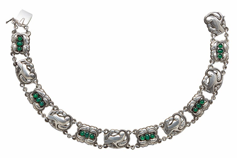 Georg Jensen Sterling Silver Chrysoprase Dove Necklace No 17, post 1945 mark. This is a rarely seen example of Chrysoprase dove motif designed by Kristian Moehl-Hansen for Georg Jensen originally in 1904. Stamped with Georg Jensen marks Sterling,