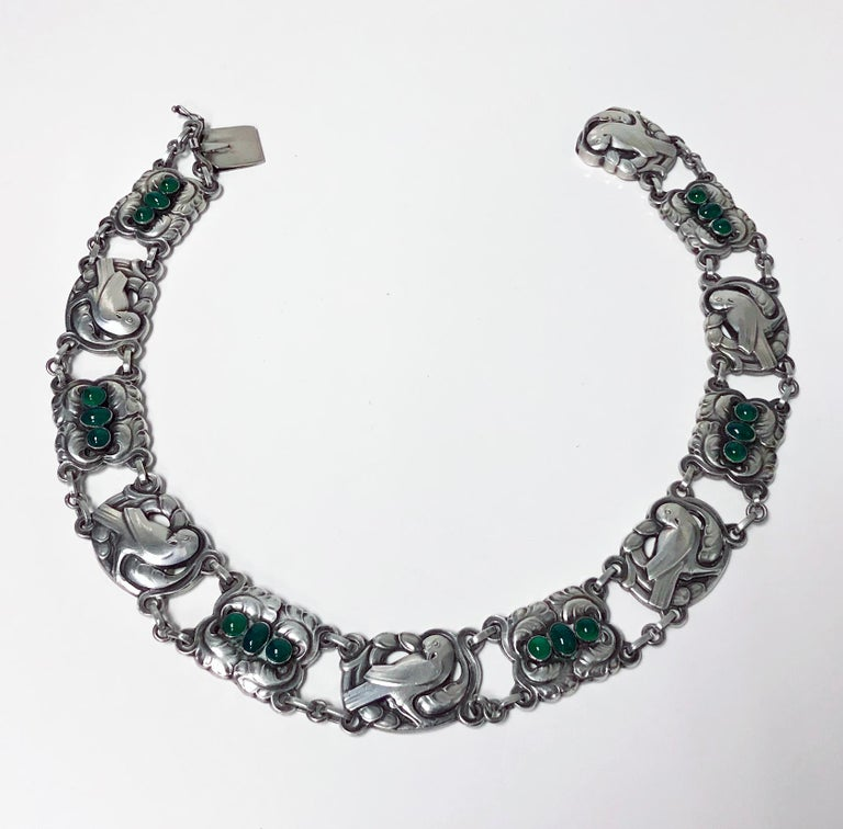 Women's Georg Jensen Sterling Silver Chrysoprase Dove Necklace For Sale