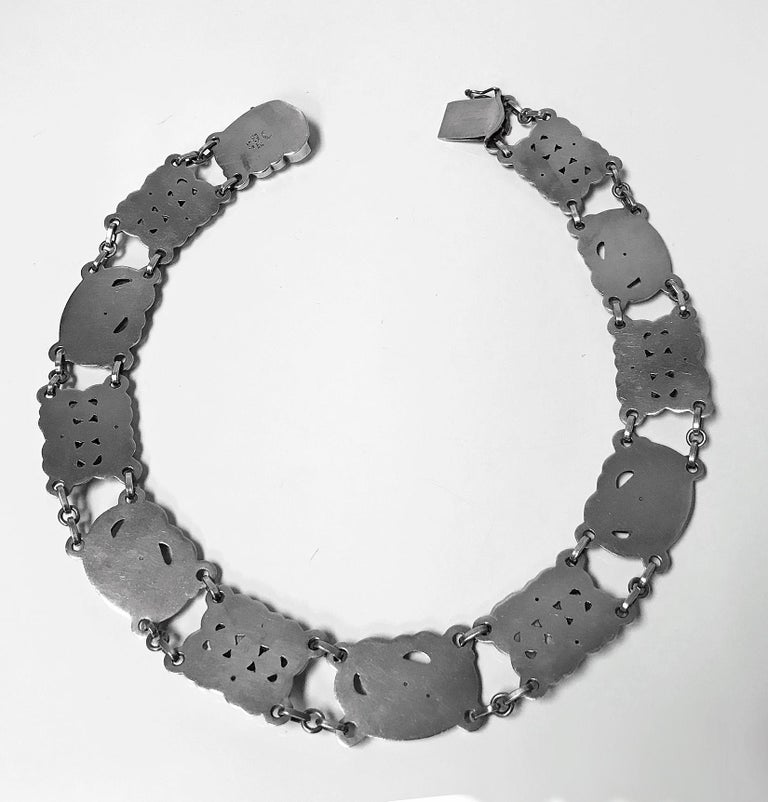 Georg Jensen Sterling Silver Chrysoprase Dove Necklace For Sale 1