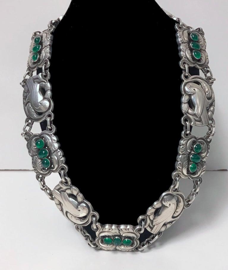 Georg Jensen Sterling Silver Chrysoprase Dove Necklace For Sale 3