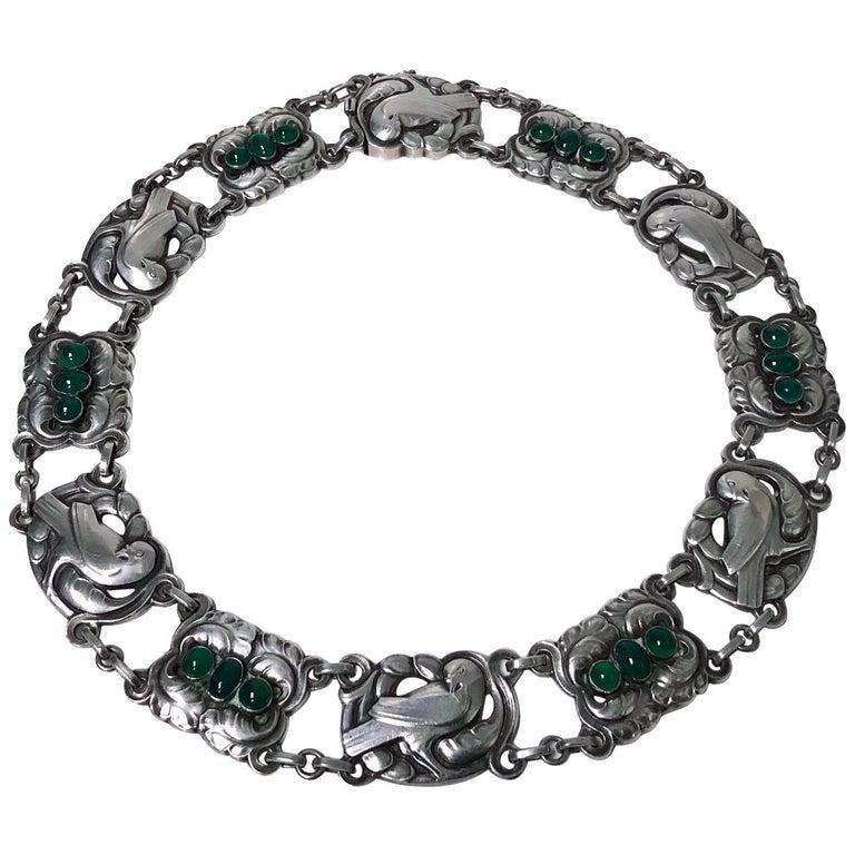 Georg Jensen Sterling Silver Chrysoprase Dove Necklace For Sale
