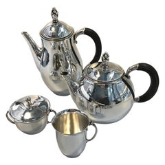 Georg Jensen Sterling Silver Coffee Pot, Tea Pot Creamer and Sugar Bowl No 456