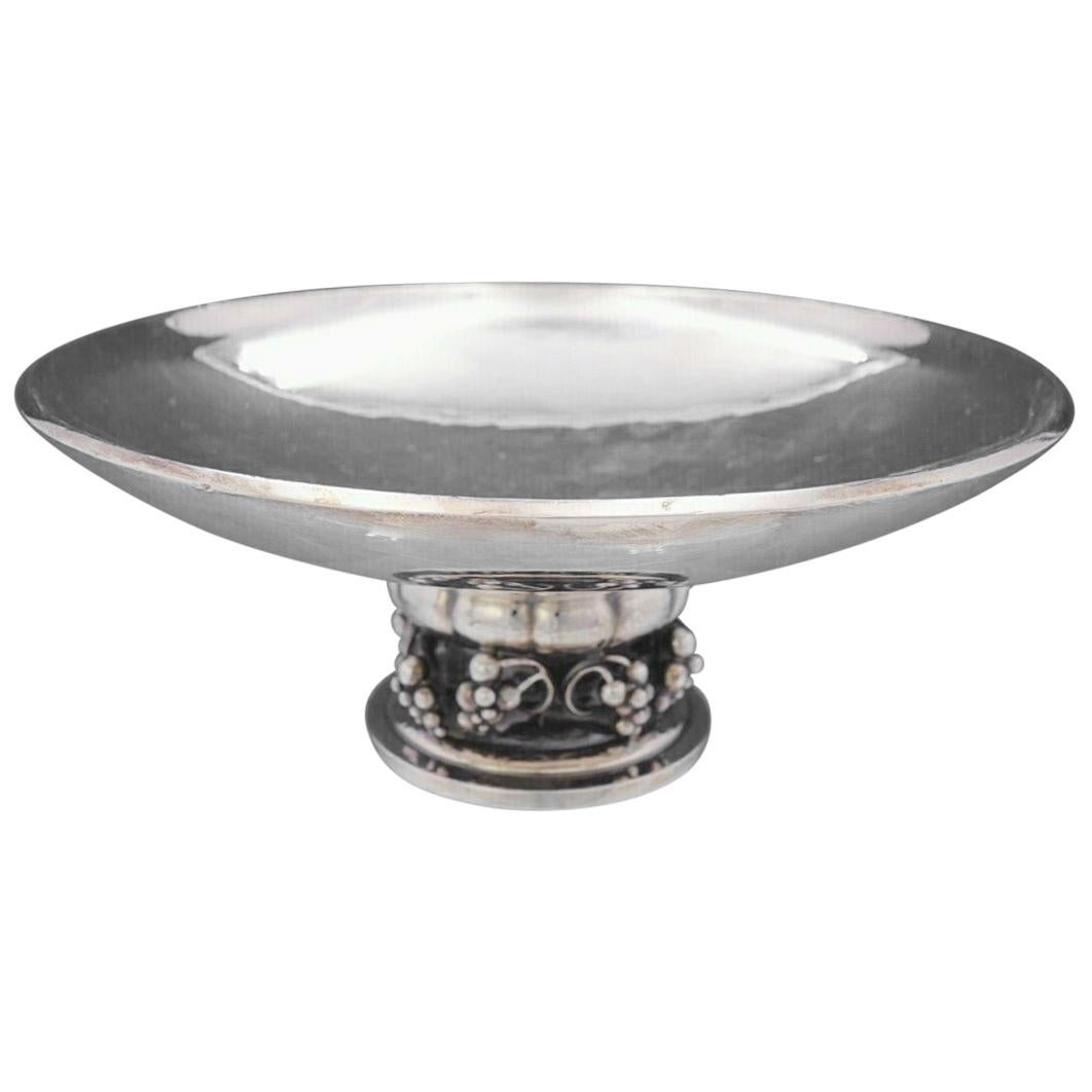 Georg Jensen Sterling Silver Compote with Pedestal Base 3-D Grapes #296E