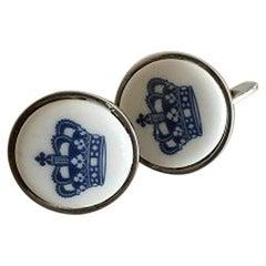 Georg Jensen Sterling Silver Cuff Links with Porcelain Button, Royal Copenhagen