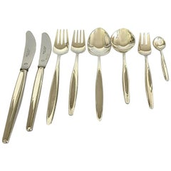 Georg Jensen Sterling Silver Cypress Flatware Set of 48 Pieces for Six Persons