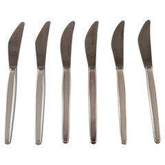 Georg Jensen Sterling Silver Cypress Six Dinner Knifes