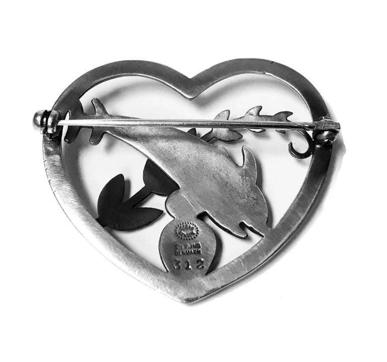 Tudor Georg Jensen Sterling Silver Dolphin Heart Brooch, circa 1930 For Sale