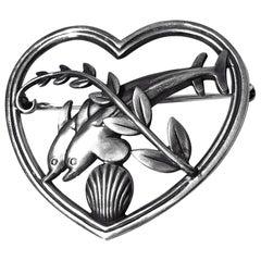 Georg Jensen Sterling Silver Dolphin Heart Brooch, circa 1930