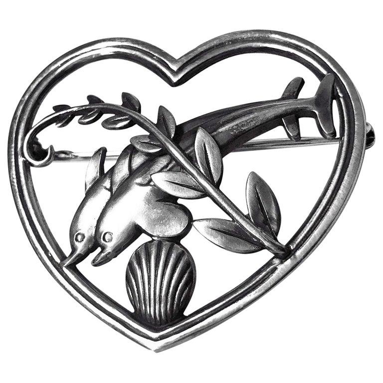 Georg Jensen Sterling Silver Dolphin Heart Brooch, circa 1930 For Sale