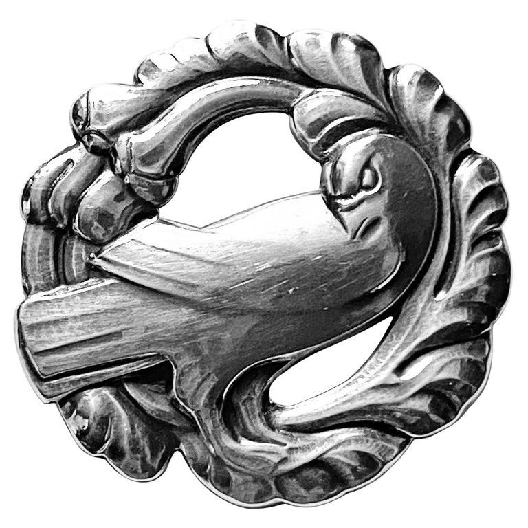 Georg Jensen Sterling Silver Dove Brooch For Sale