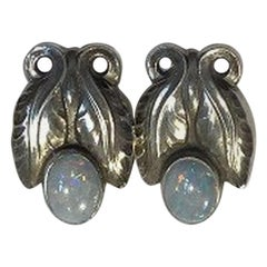 Georg Jensen Sterling Silver Ear Clips No 108 Opal