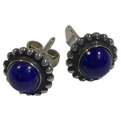 Georg Jensen Sterling Silver Earrings with Lapis Lazuli No 9