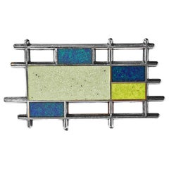 Georg Jensen Sterling Silver Enamel Abstract Brooch, Denmark, C.1960