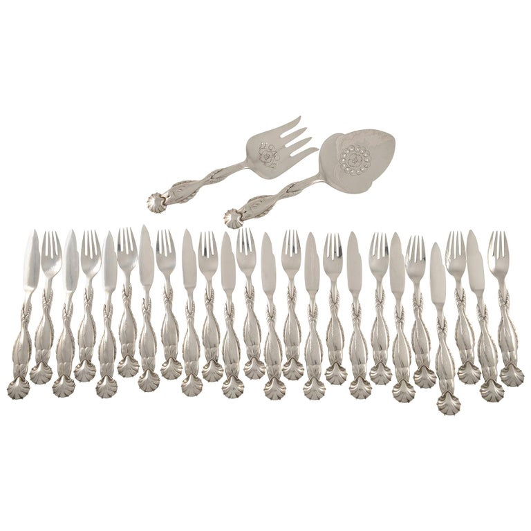 Georg Jensen Sterling Silver Fish Service 55 for Twelve and Matching Serving Set For Sale