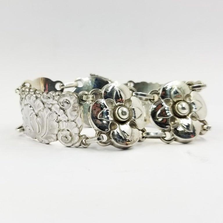 Georg Jensen Sterling Silver Flower Bracelet Number 26 For Sale 1