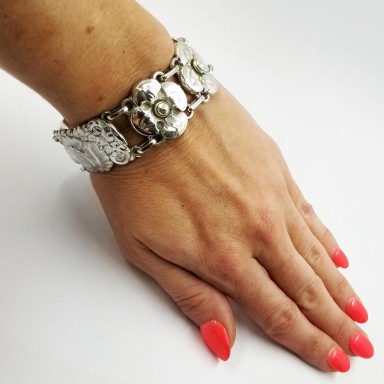 Georg Jensen Sterling Silver Flower Bracelet Number 26 For Sale 2