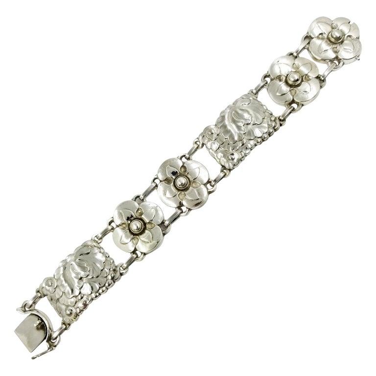 Georg Jensen Sterling Silver Flower Bracelet Number 26 For Sale