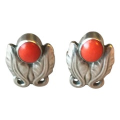Georg Jensen Sterling Silver Foliate Earrings No. 108 with Coral
