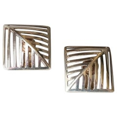 "Georg Jensen Sterling Silver ""Grates"" Earrings No. 389 by Nanna Ditzel"