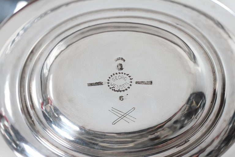 Danish Georg Jensen Sterling Silver Handcrafted Footed Bowl No 6 by Johan Rohde For Sale
