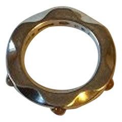 Georg Jensen Sterling Silver Mirror Ring No 261 with Orange Moonstone
