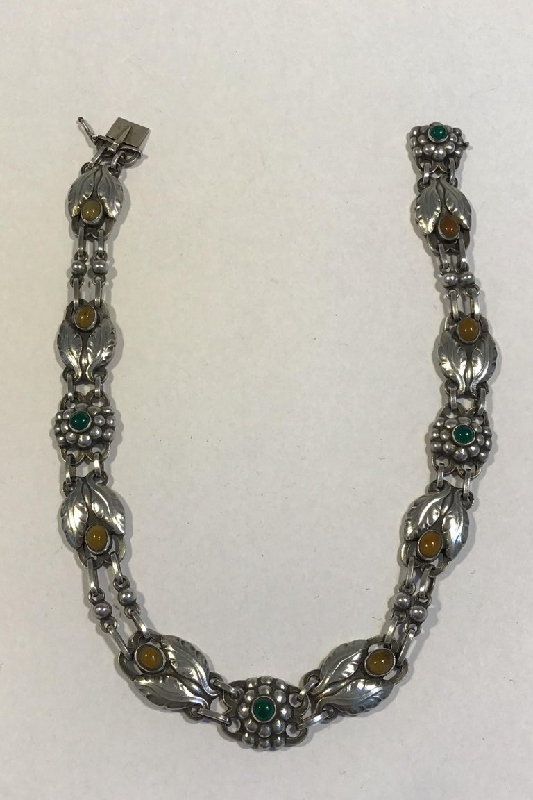 Georg Jensen Sterling Silver Necklace No 1 Amber&Chrysoprase (1915-1927)  Measures L 37 cm (14.56 in) Weight 45.7 gr/1.61 oz  (English Hallmarks)