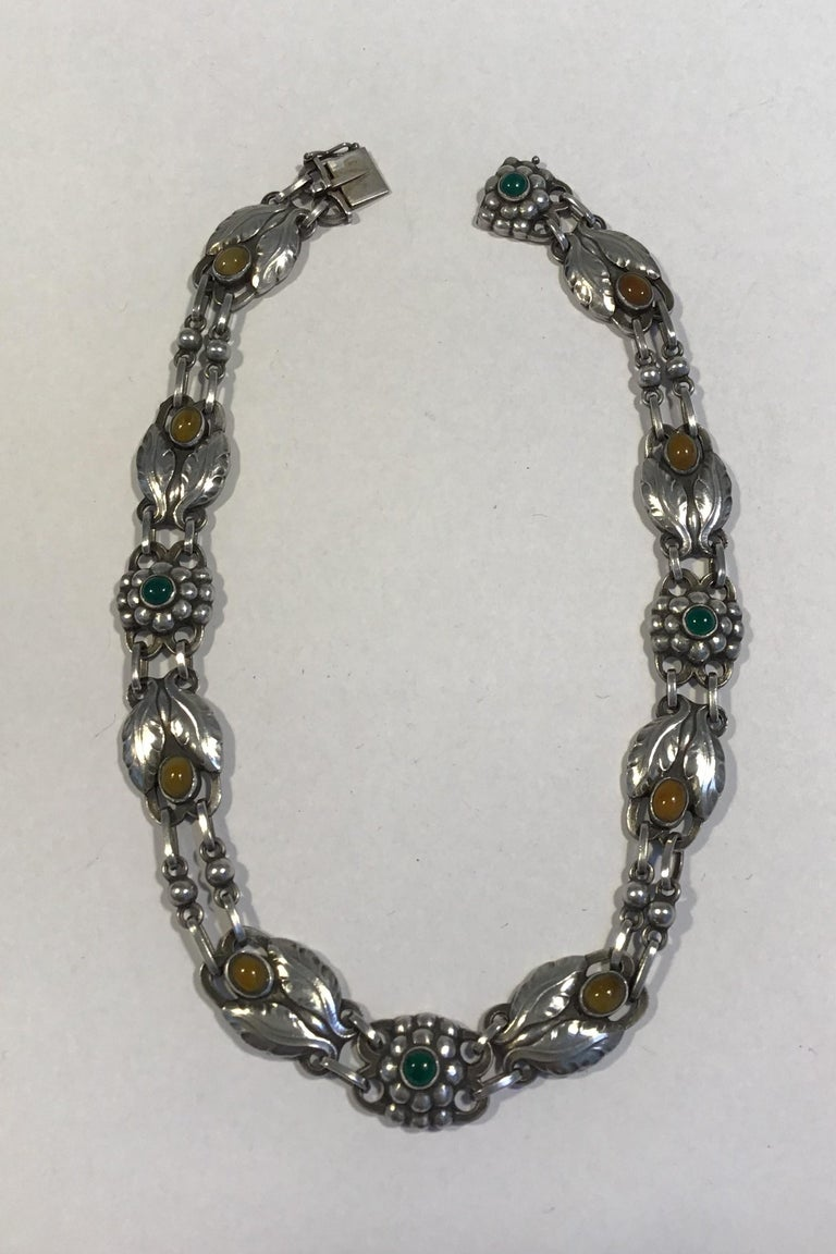 Art Nouveau Georg Jensen Sterling Silver Necklace No 1 Amber and Chrysoprase