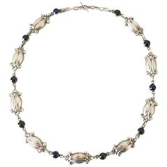 Georg Jensen Sterling Silver Necklace with Blue Stones No 15