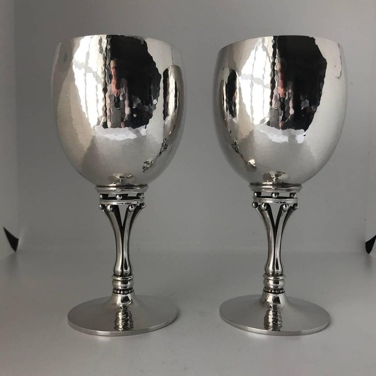 Georg Jensen sterling silver pair of goblets, No. 532C