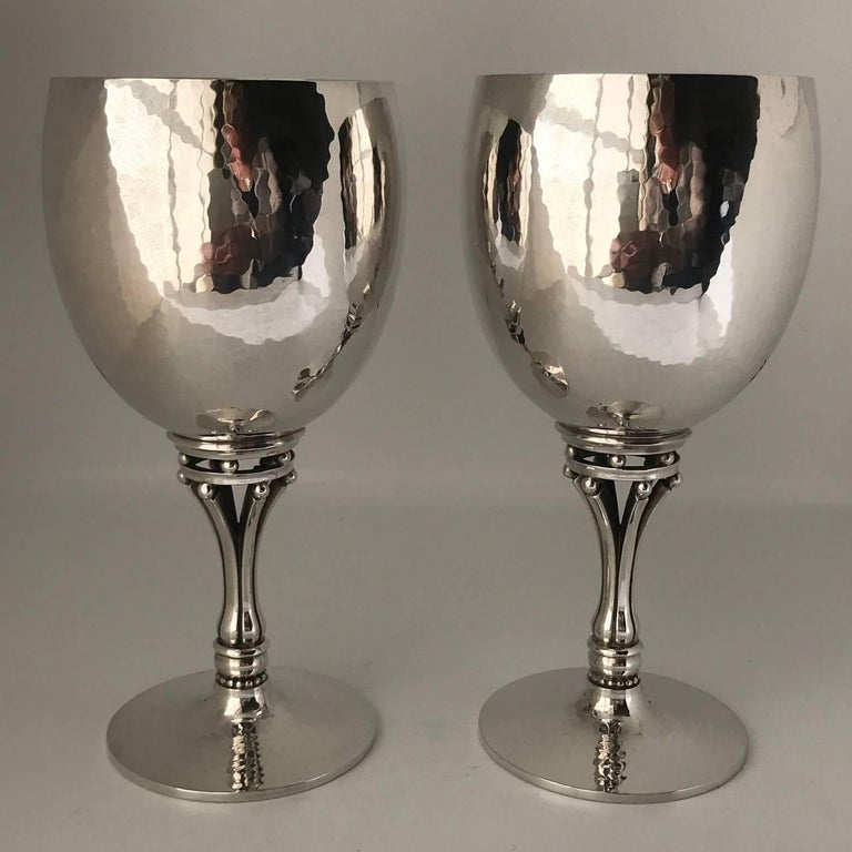 Arts and Crafts Georg Jensen Sterling Silver Pair of Goblets, No. 532C For Sale