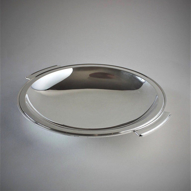 Georg Jensen sterling silver pyramid large handled serving dish, No.600D by Harald Nielsen  A similar example can be seen in the book Georg Jensen Holloware, The Silver Fund Collection by David Taylor and Jason Laskey, pg 211.  Designer: Harald