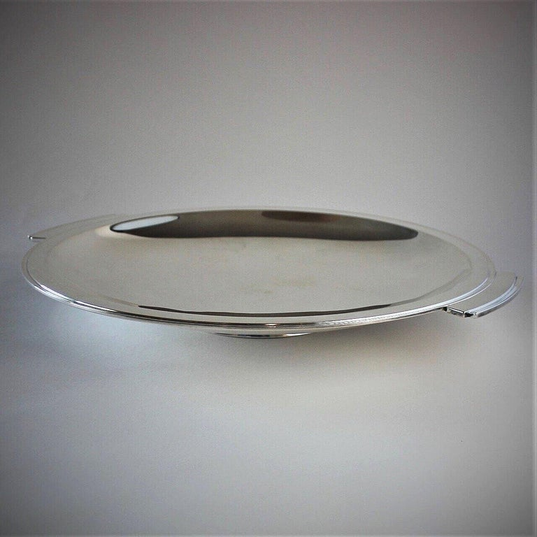 Art Deco Georg Jensen Sterling Silver Pyramid Large Handled Serving Dish, No.600D by Hara For Sale