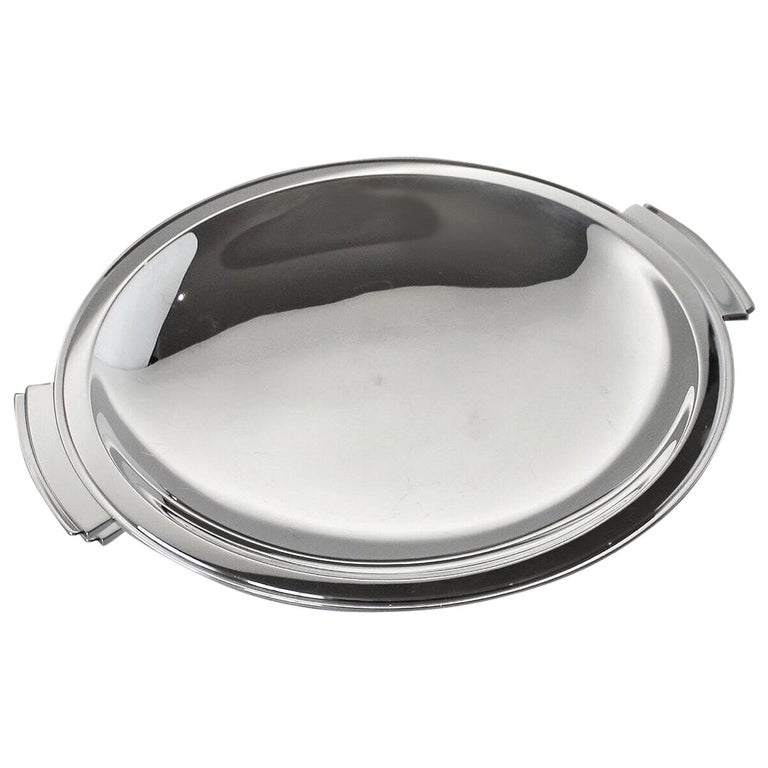 Georg Jensen Sterling Silver Pyramid Large Handled Serving Dish, No.600D by Hara For Sale