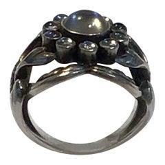 Georg Jensen Sterling Silver Ring No. 10 Moon Stone