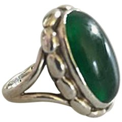 Georg Jensen Sterling Silver Ring No 19 with Clear Green Agate