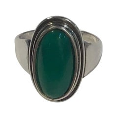 Georg Jensen Sterling Silver Ring No. 47 with Green Agate