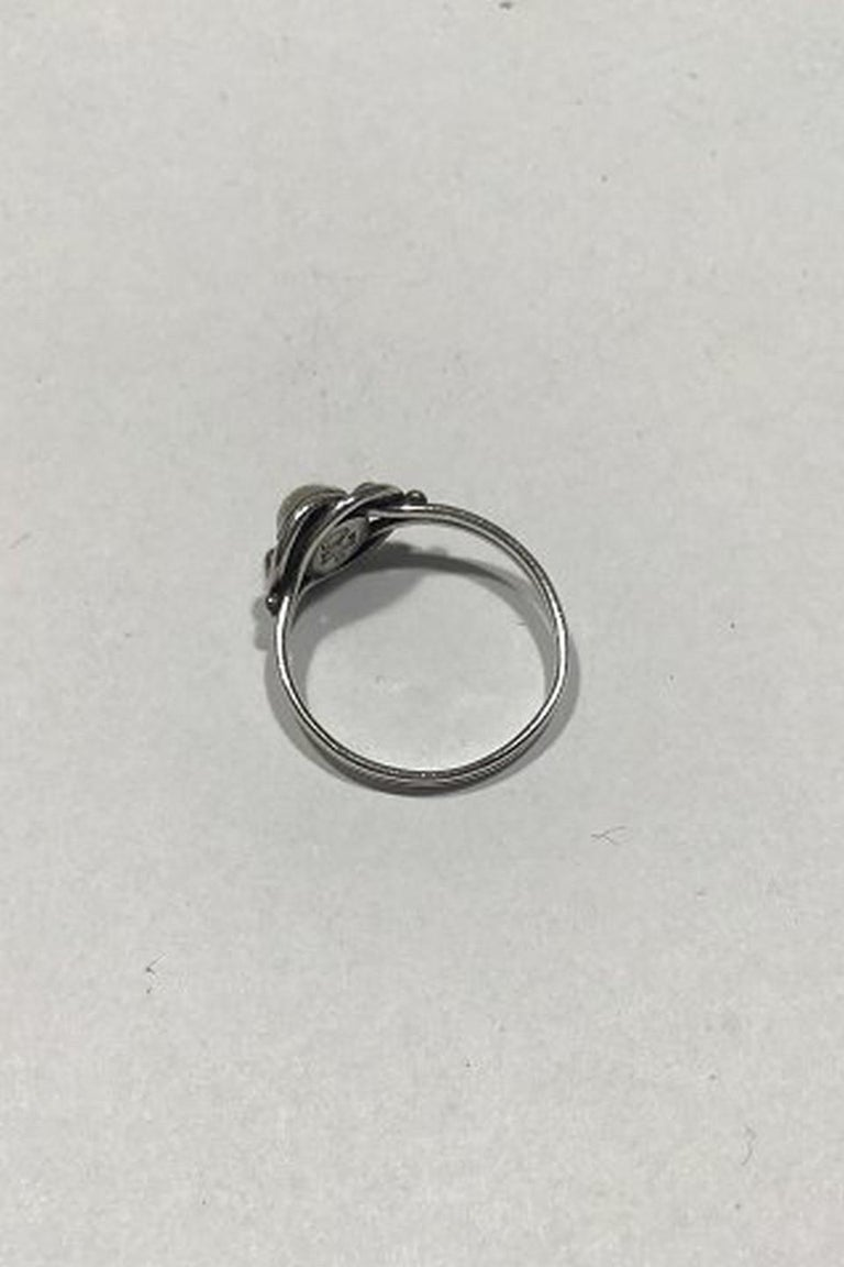 Art Nouveau Georg Jensen Sterling Silver Ring No 5 with Pearl Ring For Sale