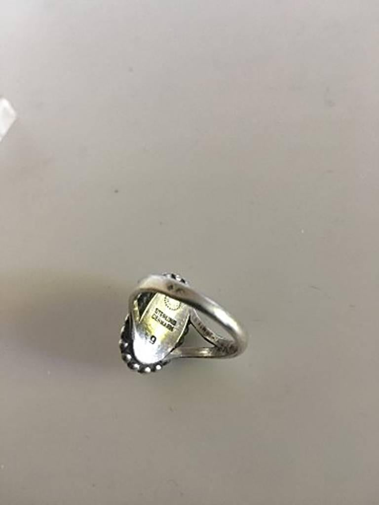 Modern Georg Jensen Sterling Silver Ring No 9 with Silver Stone For Sale